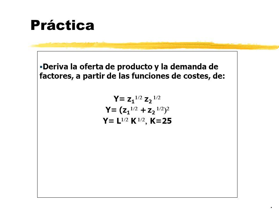 Práctica Deriva la oferta de producto y la demanda de factores, a partir de las funciones de costes, de: Y= z 1 z 2 Y= (z 1 + z 2 Y= L K K=25.