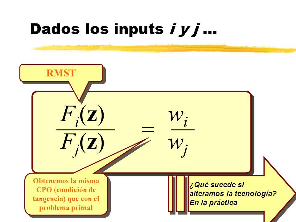 _______ = F i (z) w i F j (z) w j Dados los inputs i y j... ¿Qué sucede si alteramos la tecnología? En la práctica RMST Obtenemos la misma CPO (condic