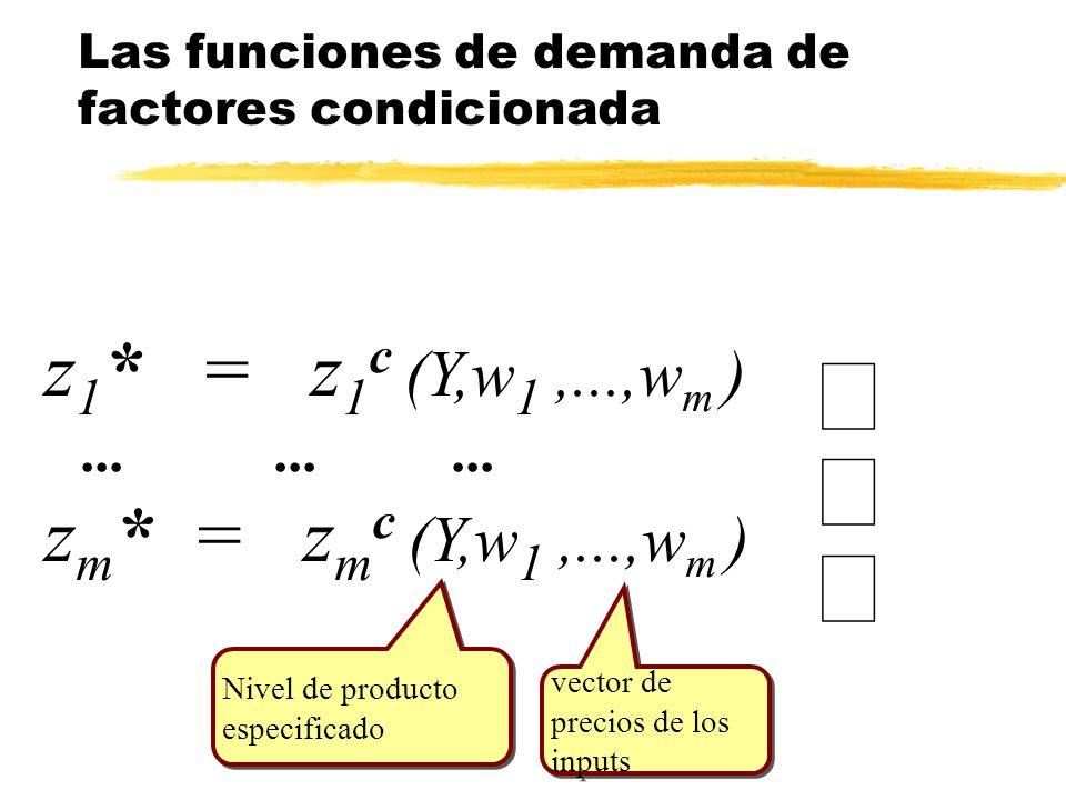 z 1 * = z 1 c (Y,w 1,...,w m )......... z m * = z m c (Y,w 1,...,w m ) Las funciones de demanda de factores condicionada vector de precios de los inpu