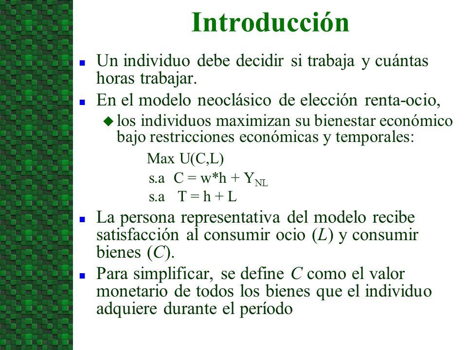 Introducción n Un individuo debe decidir si trabaja y cuántas horas trabajar. n En el modelo neoclásico de elección renta-ocio, u los individuos maxim