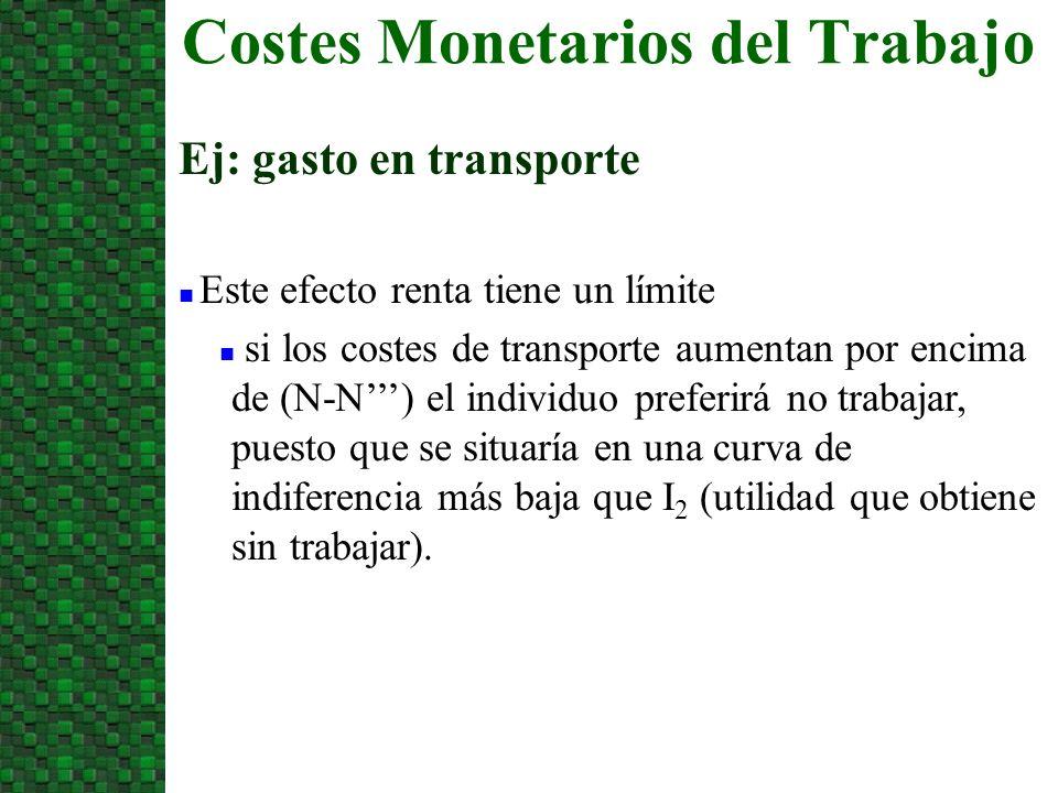 Costes Monetarios del Trabajo Ej: gasto en transporte n Este efecto renta tiene un límite n si los costes de transporte aumentan por encima de (N-N) el individuo preferirá no trabajar, puesto que se situaría en una curva de indiferencia más baja que I 2 (utilidad que obtiene sin trabajar).