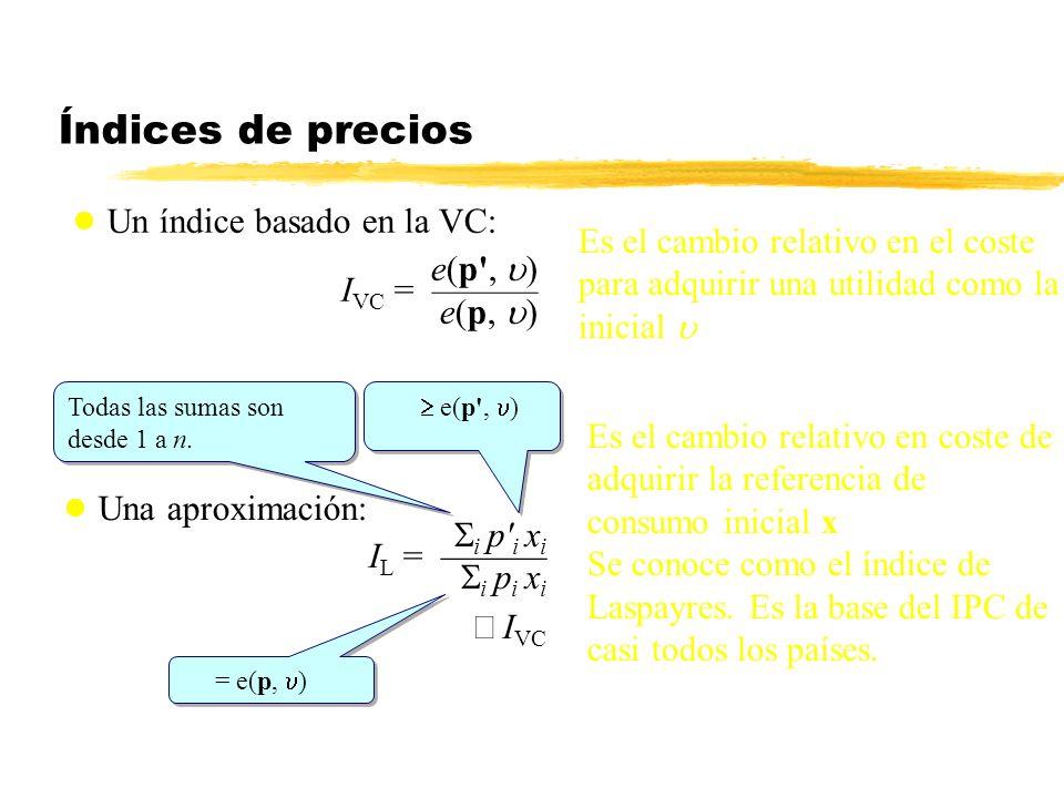 Índices de precios Una aproximación: i p' i x i I L = i p i x i I VC Un índice basado en la VC: e(p', ) I VC = e(p, ) Es el cambio relativo en el cost
