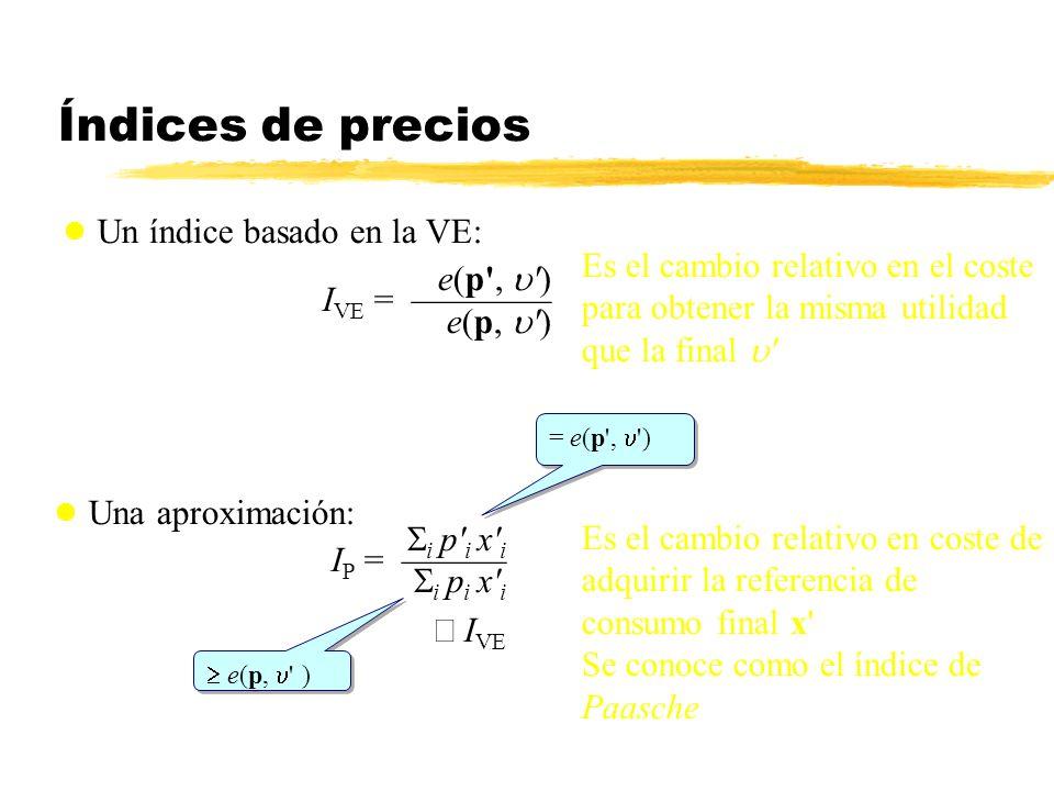 Índices de precios Un índice basado en la VE: e(p', ') I VE = e(p, ') Una aproximación: i p' i x' i I P = i p i x' i I VE Es el cambio relativo en el