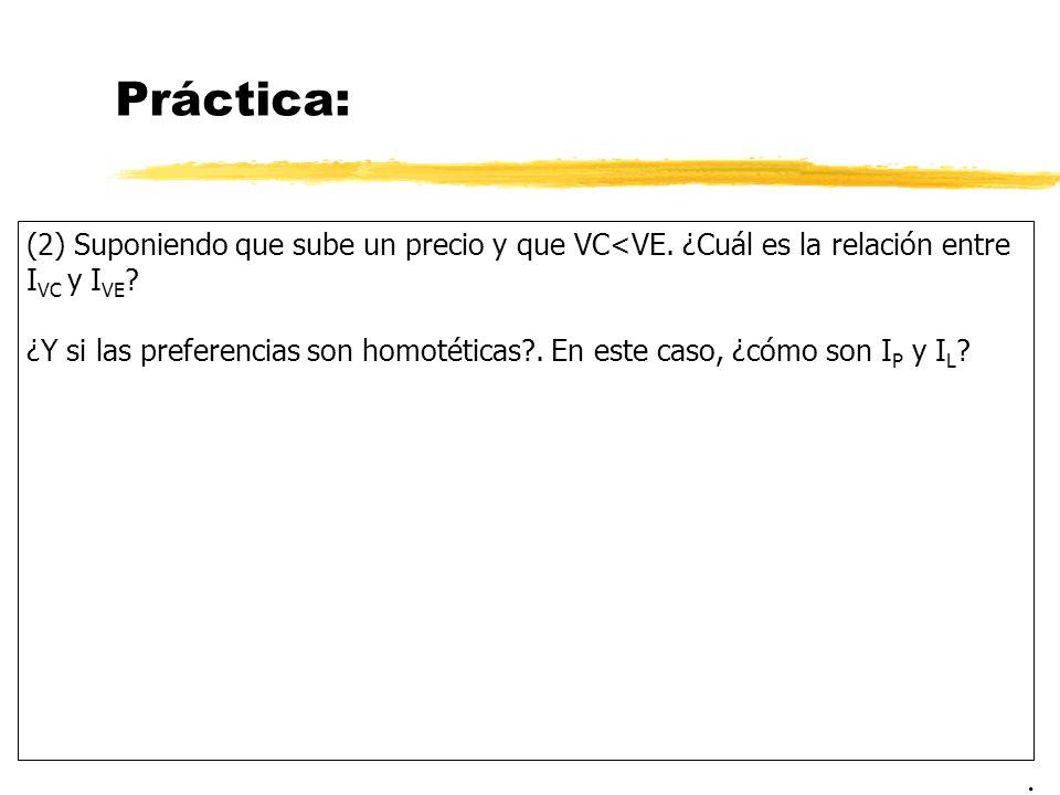 Práctica: (2) Suponiendo que sube un precio y que VC<VE. ¿Cuál es la relación entre I VC y I VE ? ¿Y si las preferencias son homotéticas?. En este cas