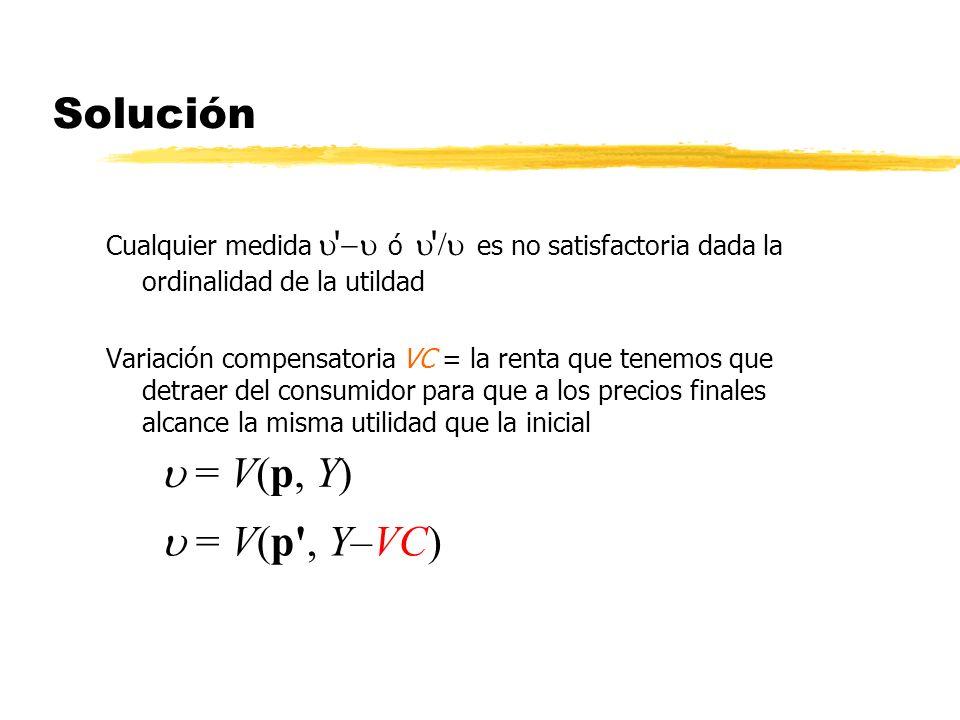 Solución Cualquier medida ' ó ' es no satisfactoria dada la ordinalidad de la utildad Variación compensatoria VC = la renta que tenemos que detraer de