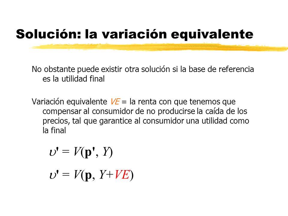 Solución: la variación equivalente No obstante puede existir otra solución si la base de referencia es la utilidad final Variación equivalente VE = la