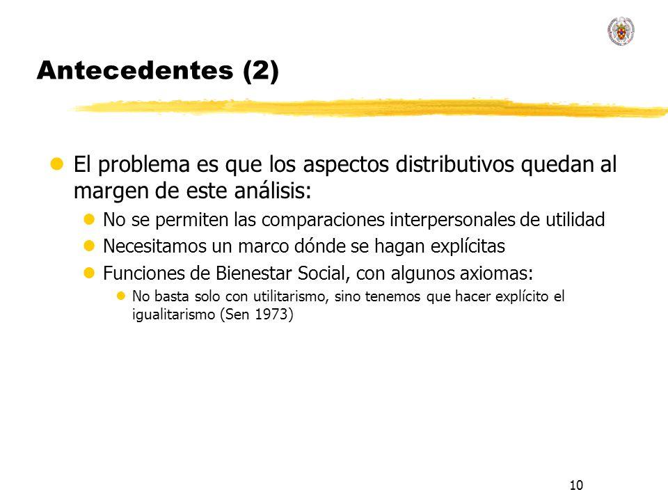10 Antecedentes (2) lEl problema es que los aspectos distributivos quedan al margen de este análisis: lNo se permiten las comparaciones interpersonale