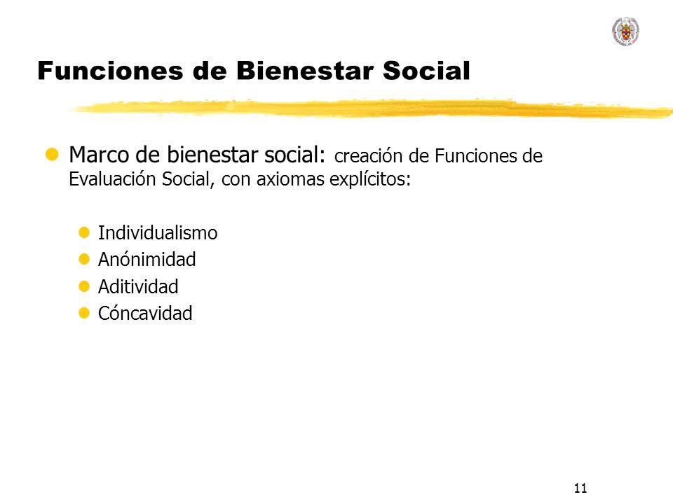 11 Funciones de Bienestar Social lMarco de bienestar social: creación de Funciones de Evaluación Social, con axiomas explícitos: lIndividualismo lAnón