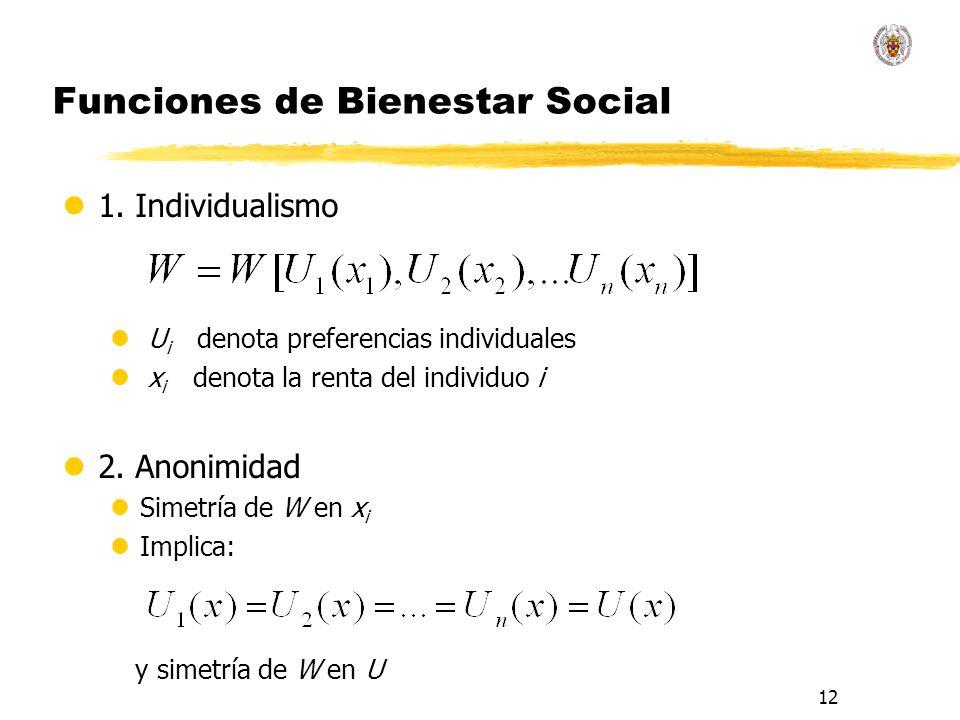 12 Funciones de Bienestar Social l1. Individualismo l U i denota preferencias individuales l x i denota la renta del individuo i l2. Anonimidad lSimet