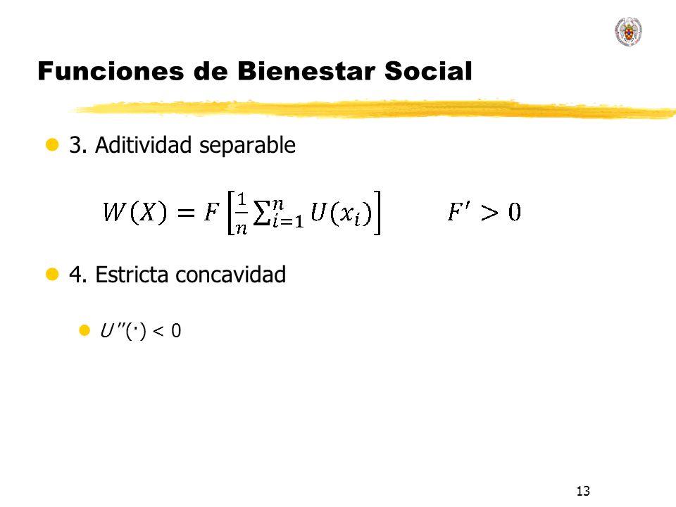13 Funciones de Bienestar Social l3. Aditividad separable l4. Estricta concavidad lU (·) < 0