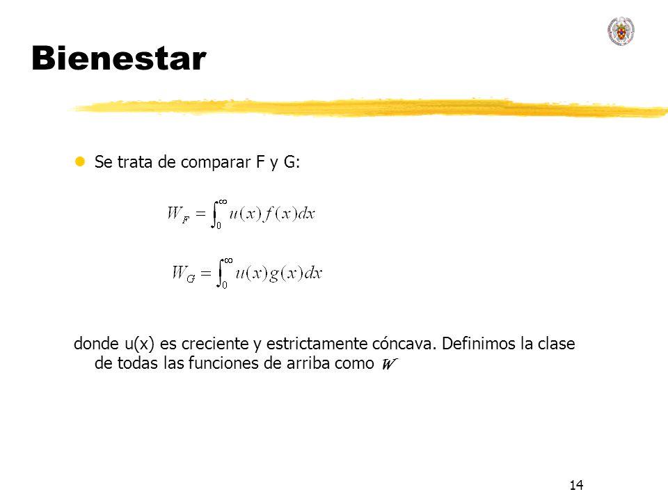 14 Bienestar lSe trata de comparar F y G: donde u(x) es creciente y estrictamente cóncava. Definimos la clase de todas las funciones de arriba como W