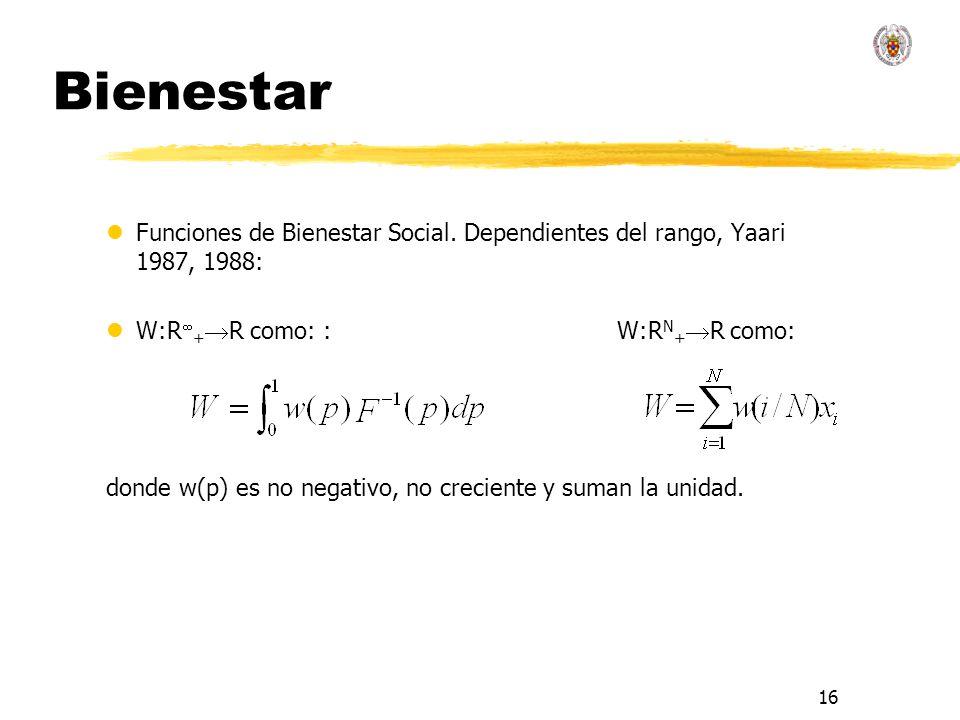 16 Bienestar lFunciones de Bienestar Social. Dependientes del rango, Yaari 1987, 1988: lW:R + R como: : W:R N + R como: donde w(p) es no negativo, no