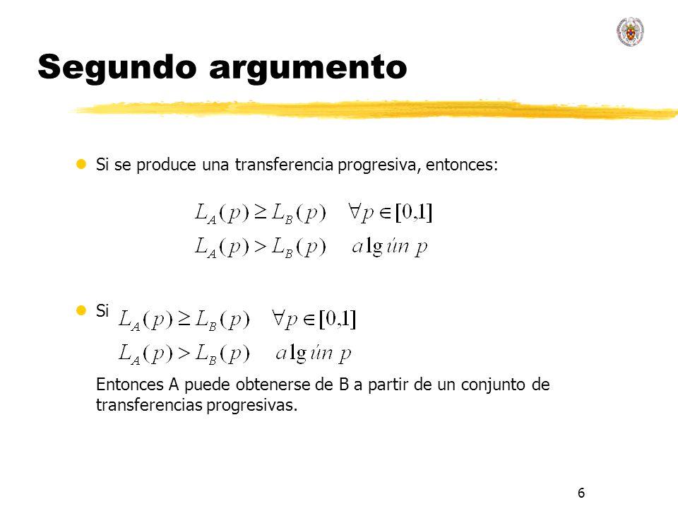 6 Segundo argumento lSi se produce una transferencia progresiva, entonces: lSi Entonces A puede obtenerse de B a partir de un conjunto de transferenci