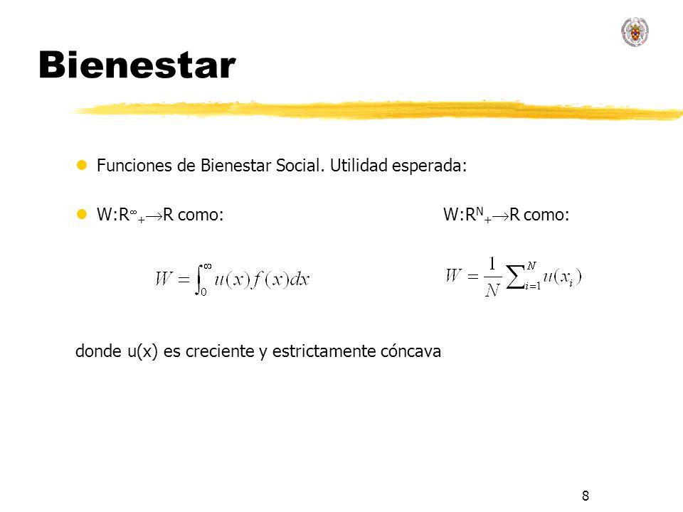 8 Bienestar lFunciones de Bienestar Social. Utilidad esperada: lW:R + R como: W:R N + R como: donde u(x) es creciente y estrictamente cóncava