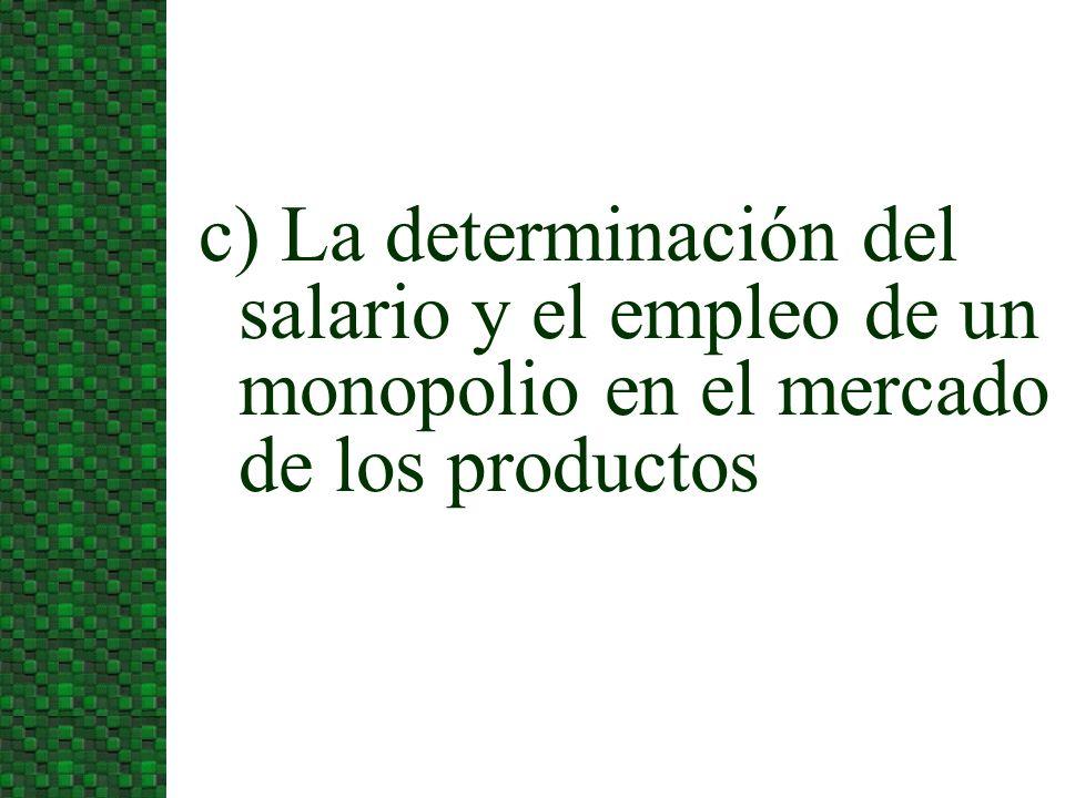 c) La determinación del salario y el empleo de un monopolio en el mercado de los productos