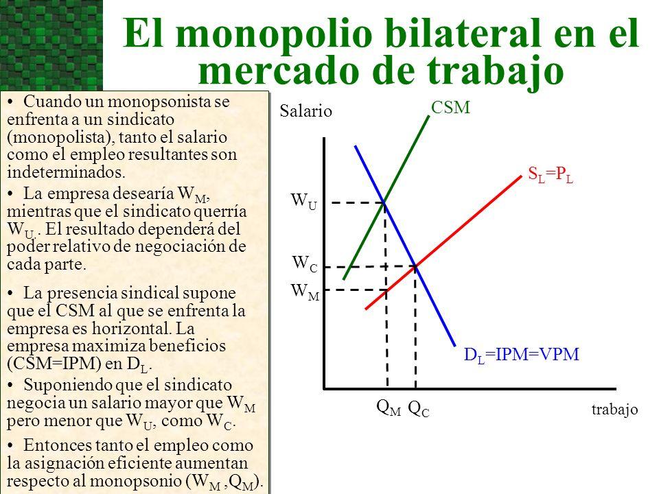 El monopolio bilateral en el mercado de trabajo Cuando un monopsonista se enfrenta a un sindicato (monopolista), tanto el salario como el empleo resul