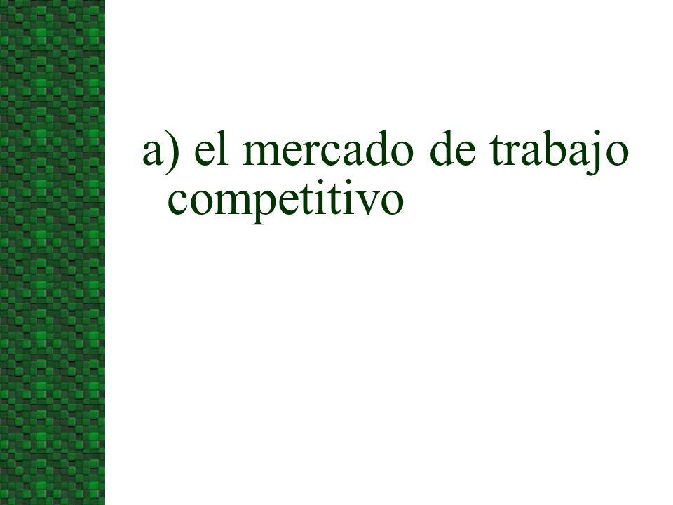 n Los mercados de trabajo perfectamente competitivos tiene las siguientes características: u Un elevado número de empresas que contratan el mismo tipo de trabajo.