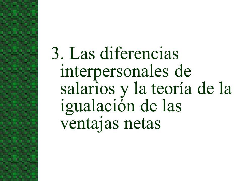 3. Las diferencias interpersonales de salarios y la teoría de la igualación de las ventajas netas
