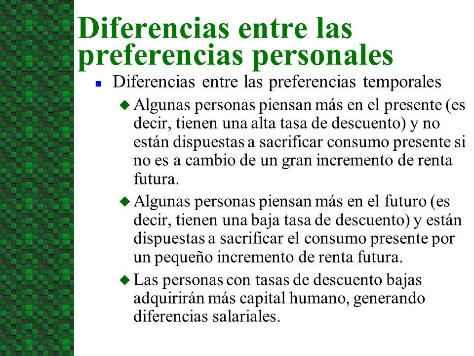 n Diferencias entre las preferencias temporales u Algunas personas piensan más en el presente (es decir, tienen una alta tasa de descuento) y no están