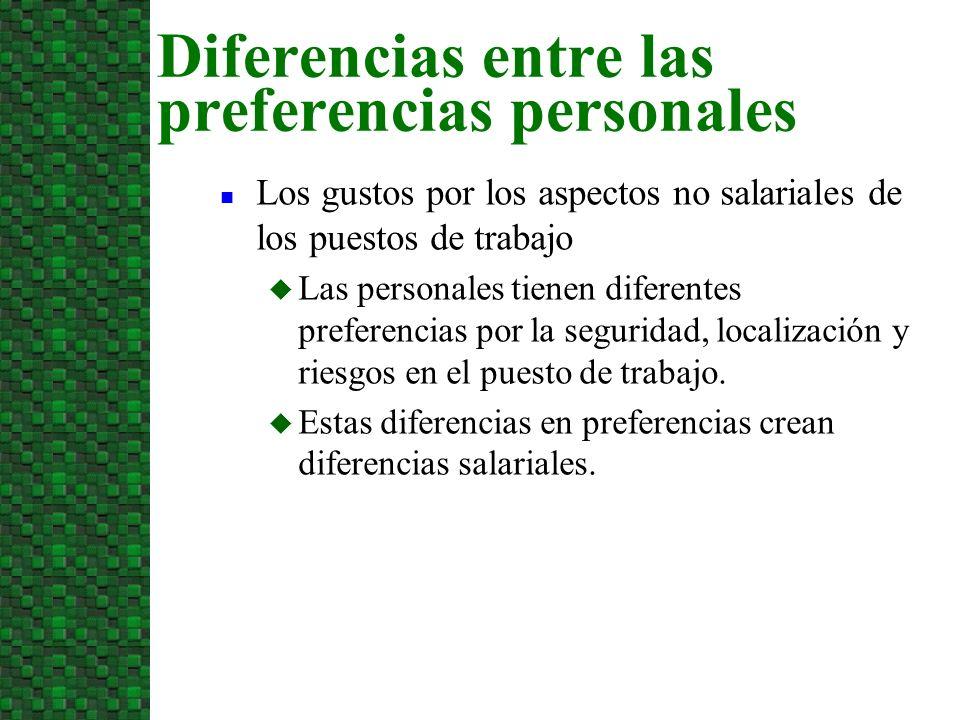 n Los gustos por los aspectos no salariales de los puestos de trabajo u Las personales tienen diferentes preferencias por la seguridad, localización y