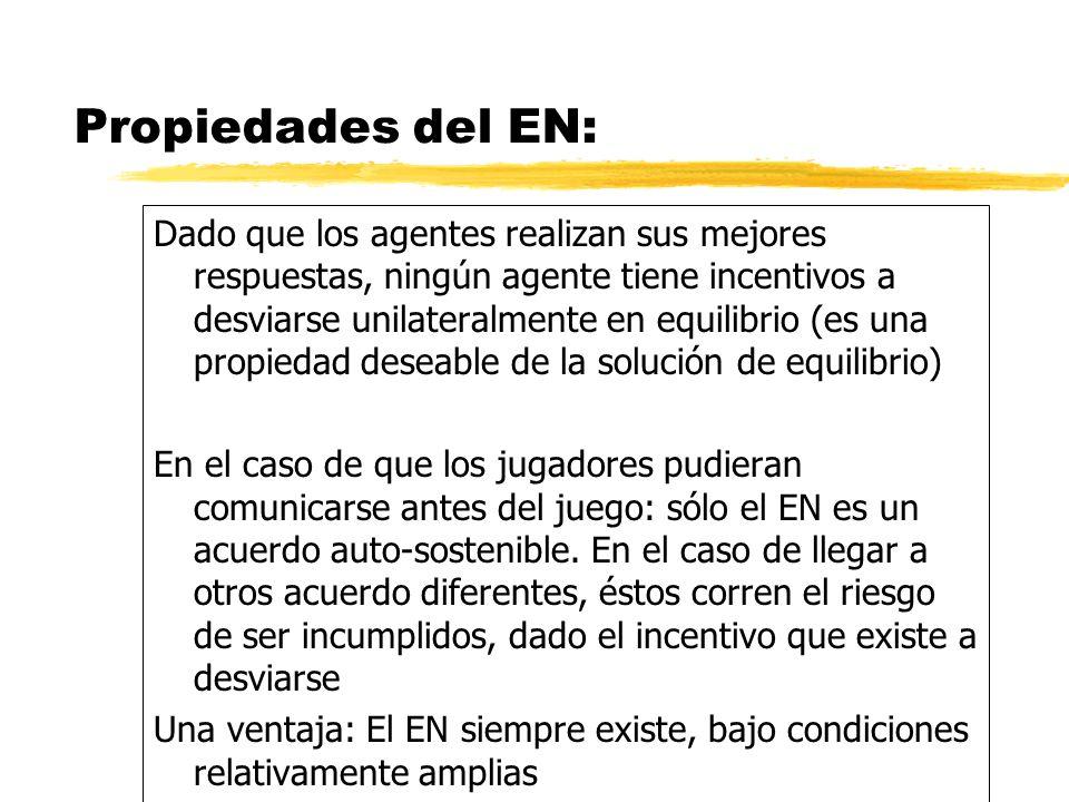 Propiedades del EN: Dado que los agentes realizan sus mejores respuestas, ningún agente tiene incentivos a desviarse unilateralmente en equilibrio (es