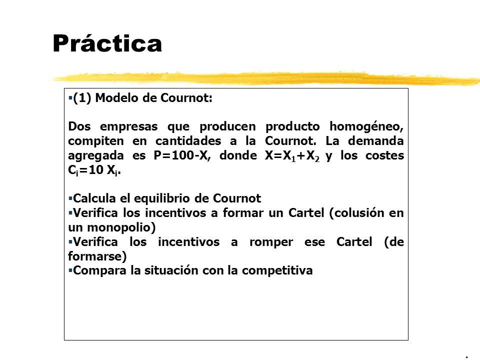 Práctica (1) Modelo de Cournot: Dos empresas que producen producto homogéneo, compiten en cantidades a la Cournot. La demanda agregada es P=100-X, don