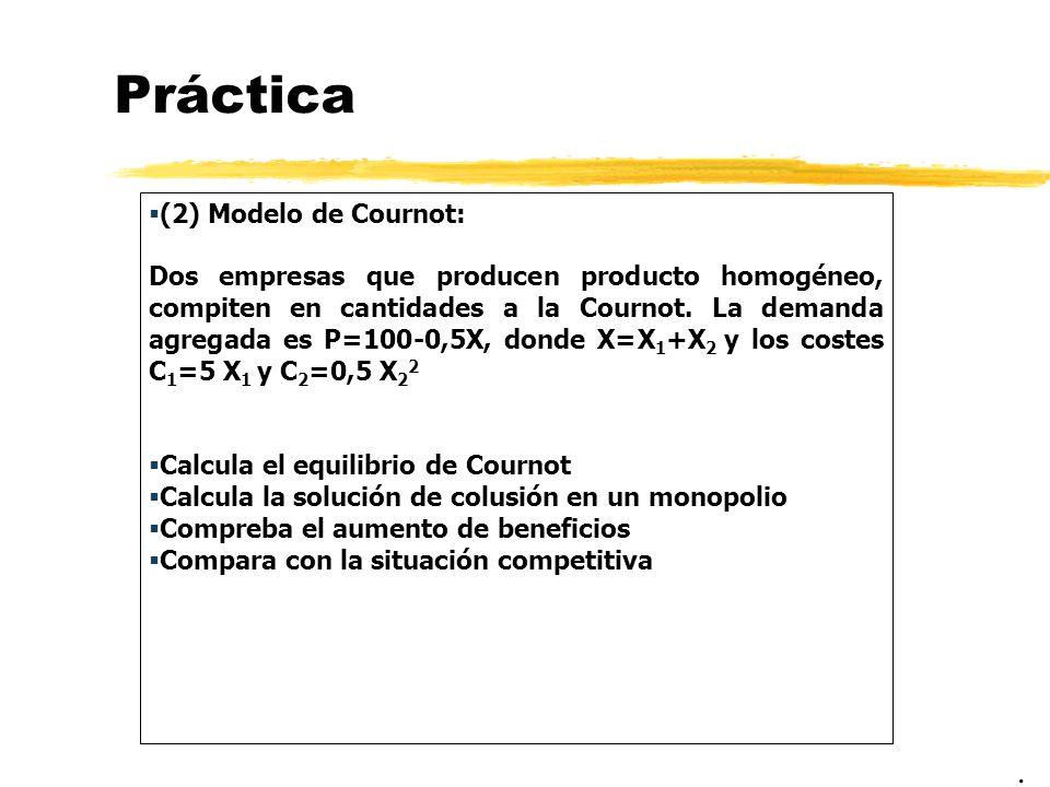 Práctica (2) Modelo de Cournot: Dos empresas que producen producto homogéneo, compiten en cantidades a la Cournot. La demanda agregada es P=100-0,5X,