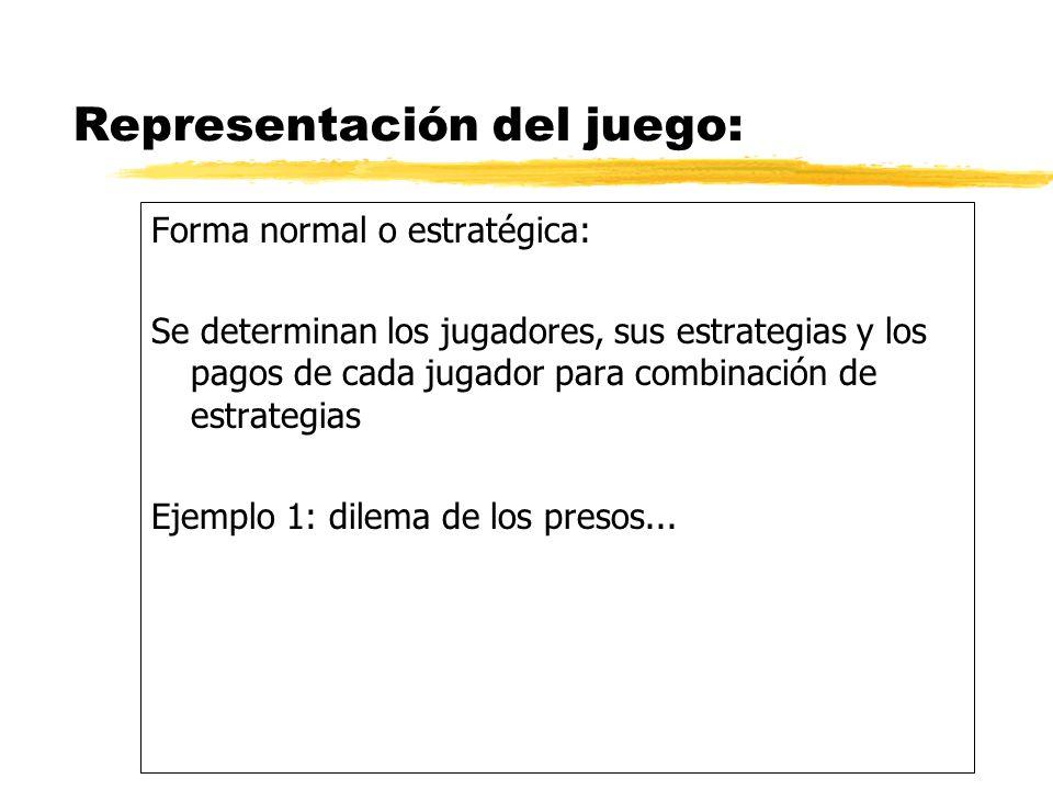 Ejemplo 1: dilema de los presos En forma estratégica.