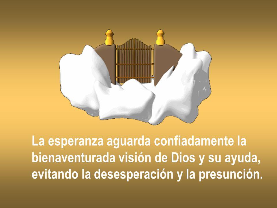 La esperanza aguarda confiadamente la bienaventurada visión de Dios y su ayuda, evitando la desesperación y la presunción.