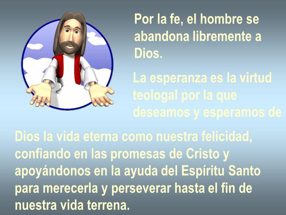 Por la fe, el hombre se abandona libremente a Dios. La esperanza es la virtud teologal por la que deseamos y esperamos de Dios la vida eterna como nue