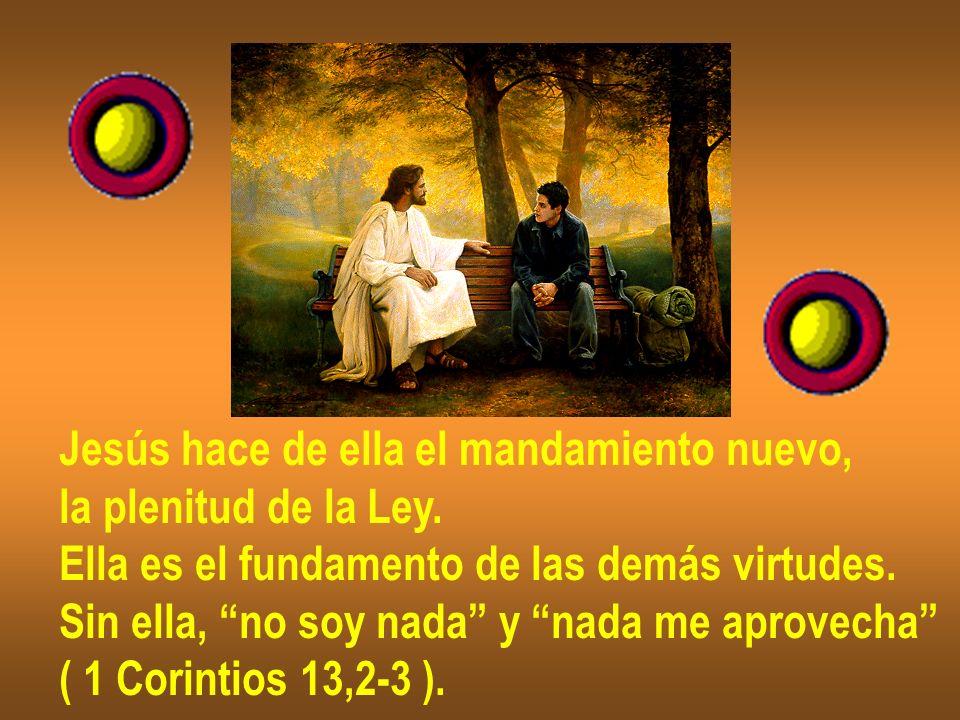 Jesús hace de ella el mandamiento nuevo, la plenitud de la Ley. Ella es el fundamento de las demás virtudes. Sin ella, no soy nada y nada me aprovecha