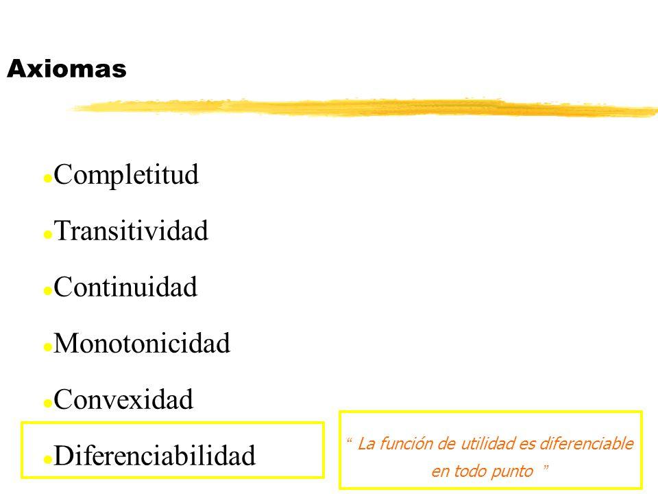 Funciones de utilidad concretas EJERCICIOS: (4) Considera los cinco tipos de preferencias: U= log(x 1 ) + (1- log(x 2 ) U= x 1 + x 2 U= x 1 2 + x 2 2 U=min( x 1, x 2 ) U=(1-e -x1 )+ x 2 donde y son parámetros positivos.