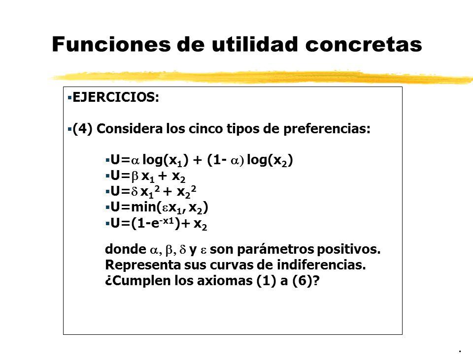 Funciones de utilidad concretas EJERCICIOS: (5) Considera las preferencias: donde 1, dibuja las curvas de indiferencia de los casos =1, 0 y.
