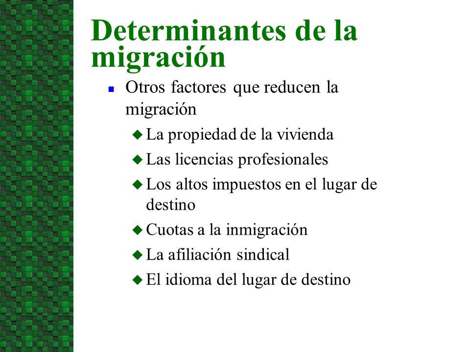Otros factores que reducen la migración La propiedad de la vivienda Las licencias profesionales Los altos impuestos en el lugar de destino Cuotas a la inmigración La afiliación sindical El idioma del lugar de destino Determinantes de la migración