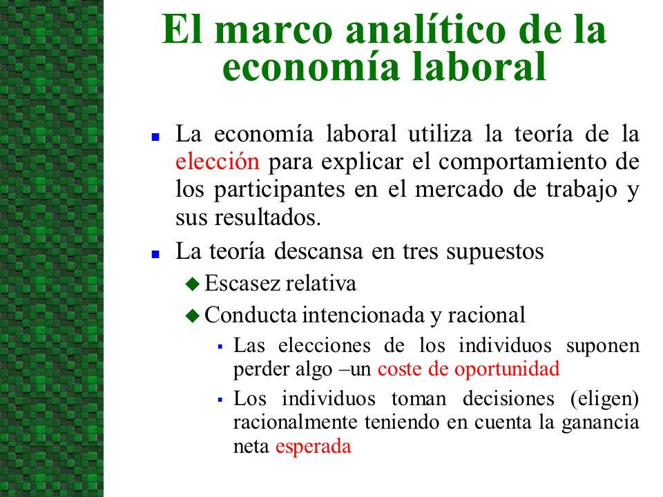 n La economía laboral utiliza la teoría de la elección para explicar el comportamiento de los participantes en el mercado de trabajo y sus resultados.