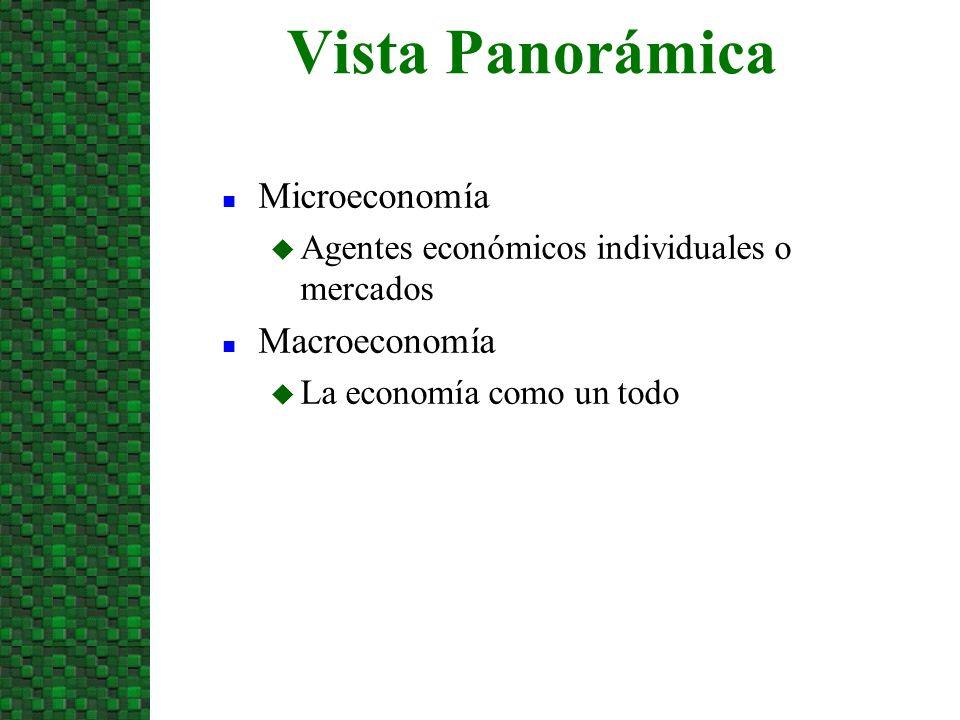 n Microeconomía u Agentes económicos individuales o mercados n Macroeconomía u La economía como un todo Vista Panorámica