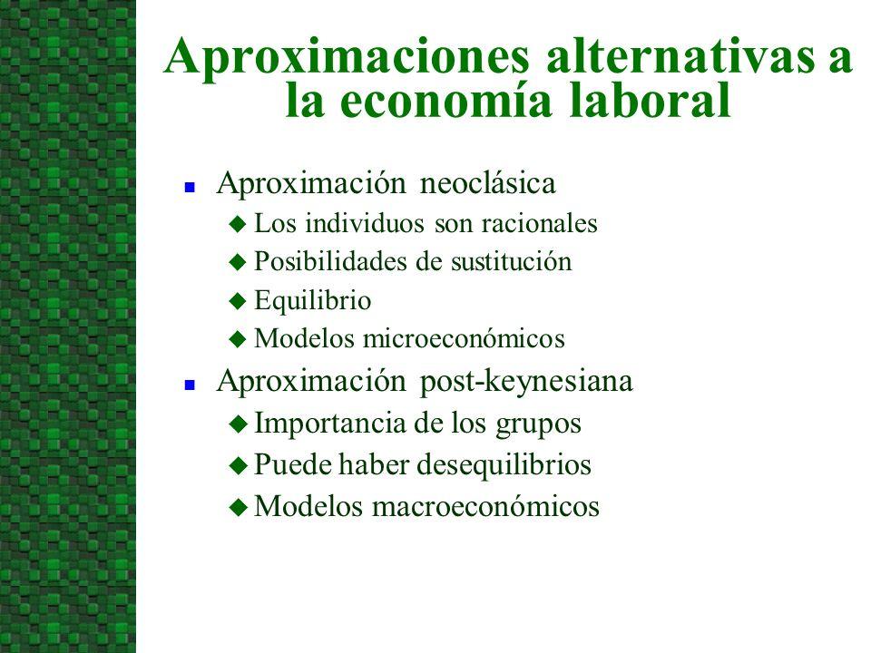 Aproximaciones alternativas a la economía laboral n Aproximación neoclásica u Los individuos son racionales u Posibilidades de sustitución u Equilibri