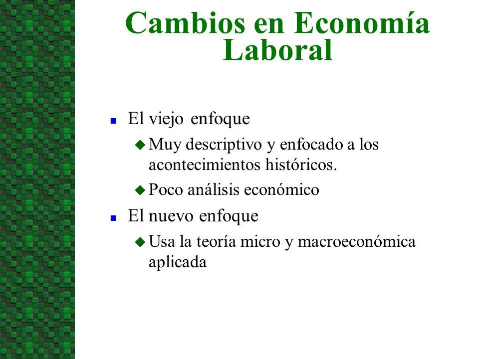 Cambios en Economía Laboral n El viejo enfoque u Muy descriptivo y enfocado a los acontecimientos históricos. u Poco análisis económico n El nuevo enf