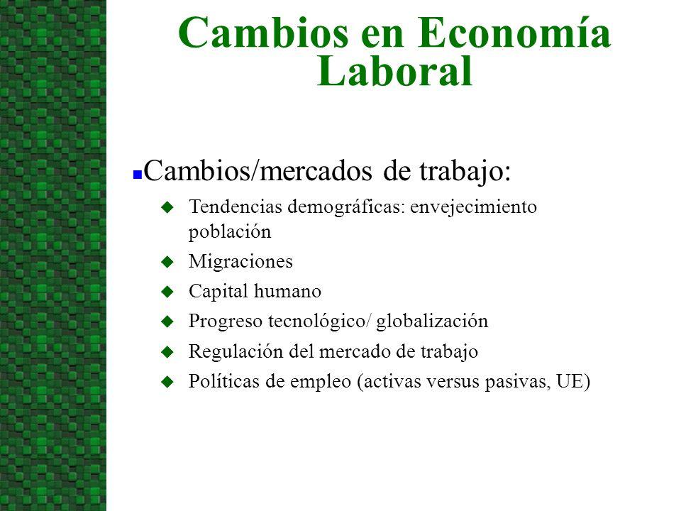 Cambios en Economía Laboral n Cambios/mercados de trabajo: u Tendencias demográficas: envejecimiento población u Migraciones u Capital humano u Progre