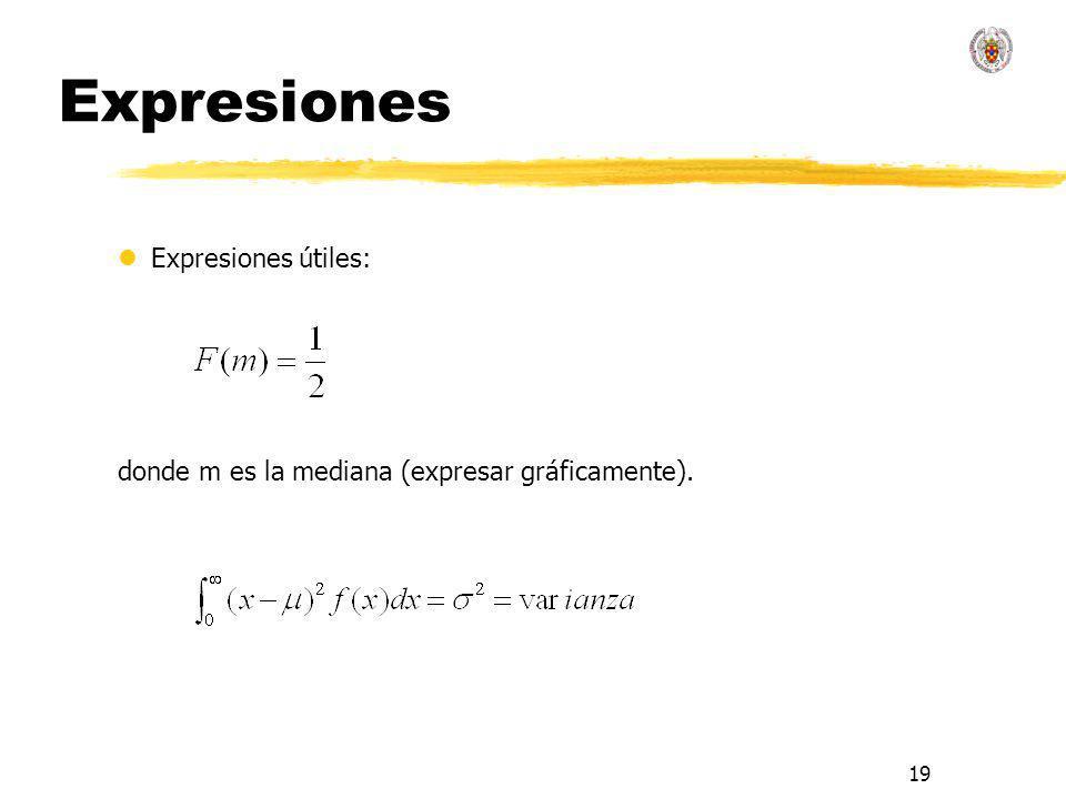 19 Expresiones lExpresiones útiles: donde m es la mediana (expresar gráficamente).