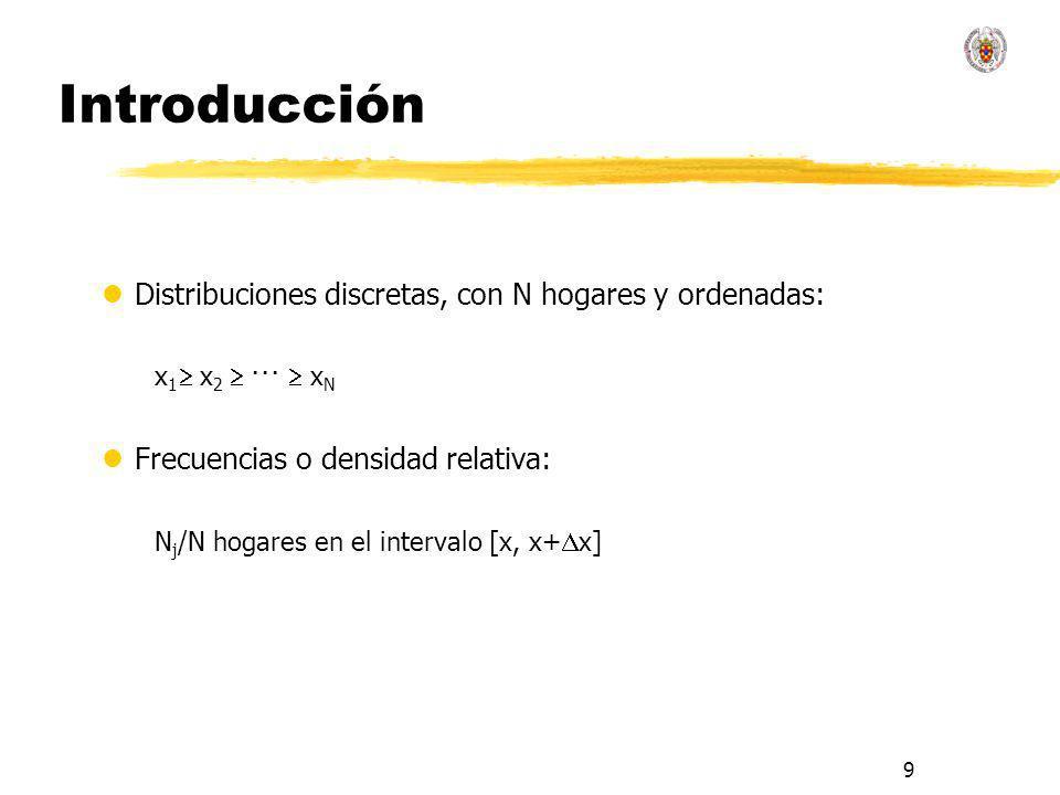 9 Introducción lDistribuciones discretas, con N hogares y ordenadas: x 1 x 2 ··· x N lFrecuencias o densidad relativa: N j /N hogares en el intervalo
