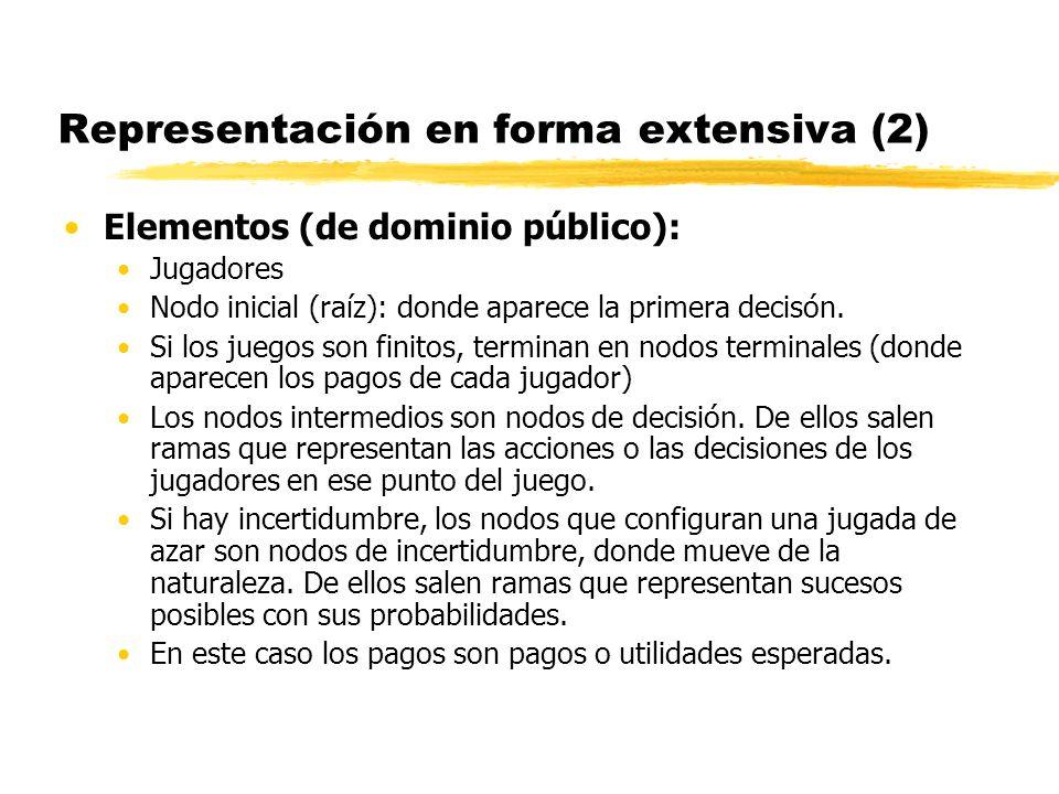 Representación en forma extensiva (2) Elementos (de dominio público): Jugadores Nodo inicial (raíz): donde aparece la primera decisón. Si los juegos s