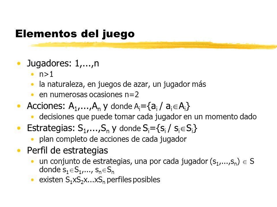 Elementos del juego Jugadores: 1,...,n n>1 la naturaleza, en juegos de azar, un jugador más en numerosas ocasiones n=2 Acciones: A 1,...,A n y donde A