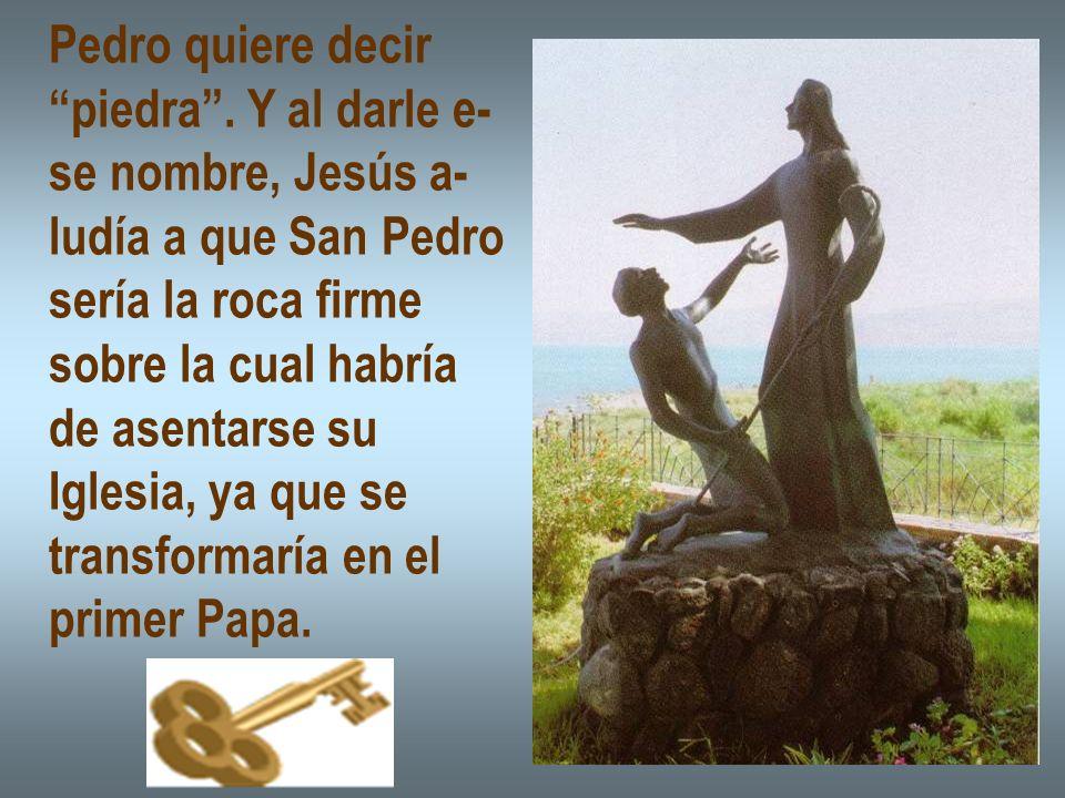Pedro quiere decir piedra. Y al darle e- se nombre, Jesús a- ludía a que San Pedro sería la roca firme sobre la cual habría de asentarse su Iglesia, y