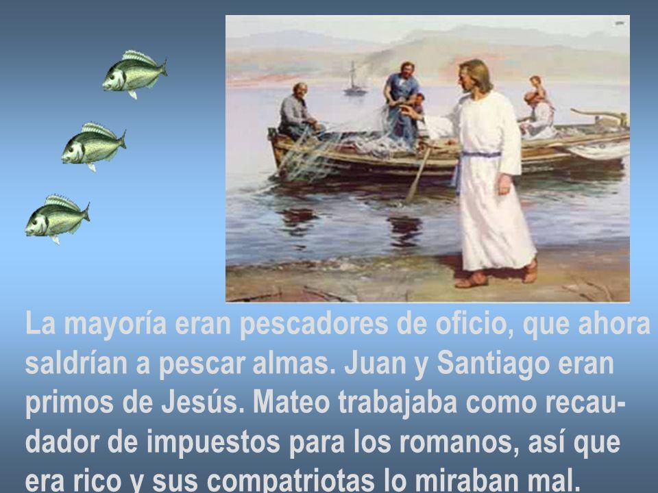 La mayoría eran pescadores de oficio, que ahora saldrían a pescar almas. Juan y Santiago eran primos de Jesús. Mateo trabajaba como recau- dador de im