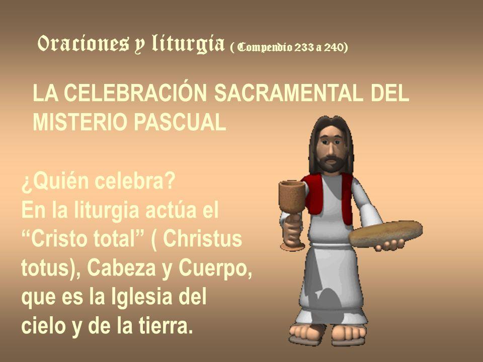 0raciones y liturgia ( Compendio 233 a 240) LA CELEBRACIÓN SACRAMENTAL DEL MISTERIO PASCUAL ¿Quién celebra? En la liturgia actúa el Cristo total ( Chr