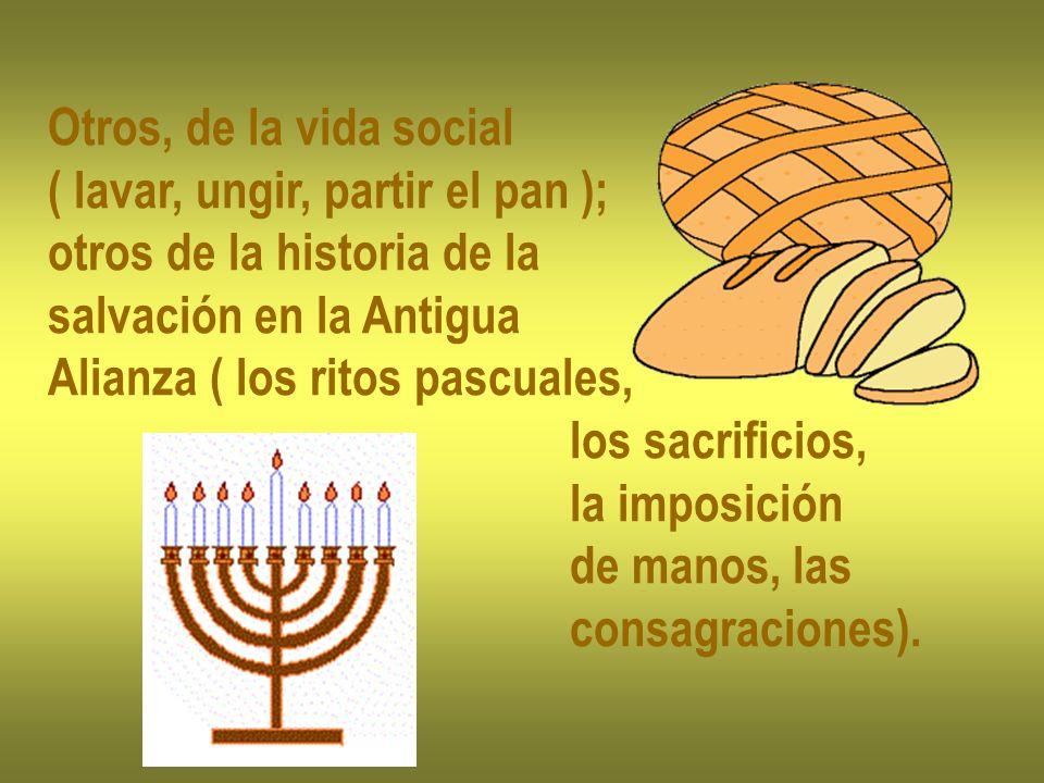 Otros, de la vida social ( lavar, ungir, partir el pan ); otros de la historia de la salvación en la Antigua Alianza ( los ritos pascuales, los sacrif