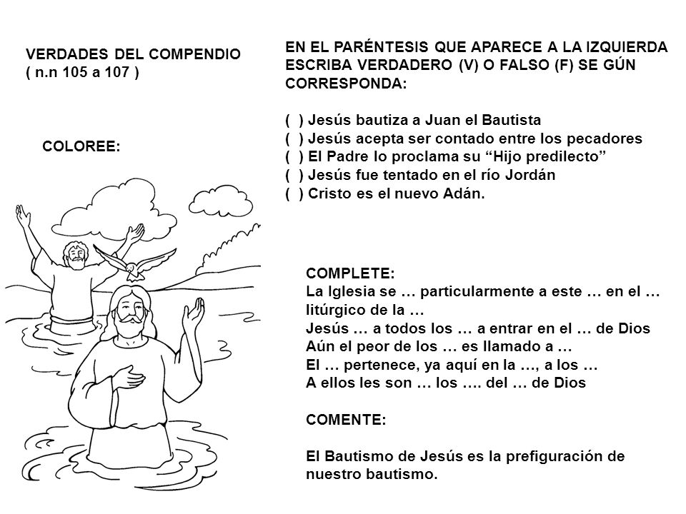 VERDADES DEL COMPENDIO ( n.n 105 a 107 ) COLOREE: EN EL PARÉNTESIS QUE APARECE A LA IZQUIERDA ESCRIBA VERDADERO (V) O FALSO (F) SE GÚN CORRESPONDA: (