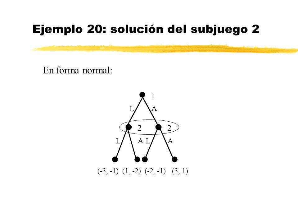 Ejemplo 20: solución del subjuego 2 (3, 1) 1 L A (-3, -1) 2 L A 2 L A (1, -2)(-2, -1) En forma normal: