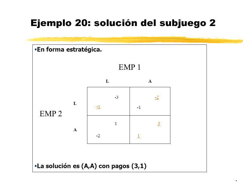 Ejemplo 20: solución del subjuego 2 En forma estratégica. La solución es (A,A) con pagos (3,1). EMP 1 EMP 2 LA L A -3-2 -2 1 1 3